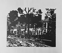 Rowhouse Geneva NY Woodblock Print Black & White Signed & Numbered