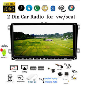 9''2 Din Android GPS Car Radio for VW/Seat+Dongle +CAM Siri Wifi FM Airplay BT