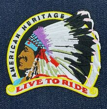 INDIAN MOTORCYCLE AMERICAN HERITAGE LIVE TO RIDE LOGO IRON ON EMBROIDERED PATCH