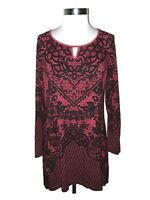 SOMA Size L Tunic Top Red Black Floral Long Sleeve