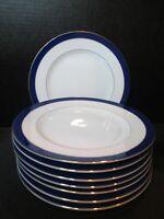 """Tuchikichi Adam & Eve Cobalt Blue & Gold Trim 8 Salad 7 7/8"""""""