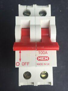 MEM AD100 100A Double Pole Main Switch Isolator