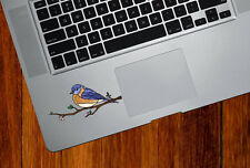 """CLR:TP Eastern Bluebird Stained Glass Vinyl Trackpad Decal ©YYDC MD 3.5""""w"""