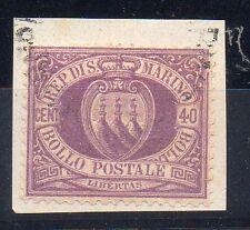 1877 SAN MARINO 40 CENTESIMI LILLA SCURO USATO B/9899