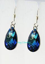 RARE! Swarovski Elements CRYSTAL Bermuda Blue Teardrop Earrings Sterling Silver