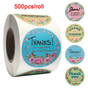 500PCS Round Floral Thank You Stickers For Wedding Party Gift Envelope Seal