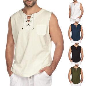 Mens Baggy Cotton Linen T Shirt Fashion Sleeveless Shirts Tee Hippie Casual Tops