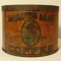 Vintage 1930s LEADING LADY INDIAN GRAPHIC COFFEE TIN ONE POUND Muskogee Oklahoma