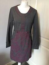 Skunkfunk Grey Wool Printed Dress Size 4 UK 12-14 Work Twice