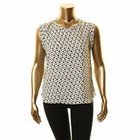 DKNY NEW Women's Printed Scoop-neck Blouse Shirt Top TEDO