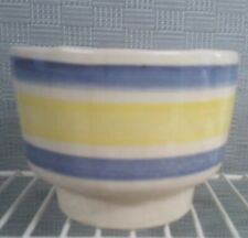 USA Pottery Footed bowl blue & yellow strips # 741 vintage