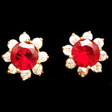 Brass Stud Earrings Round Cut CZ Stone Red Ruby Flower 18K Yellow Gold Plated