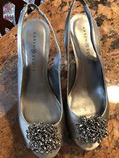 Karen Scott Brena Pewter 9.5 Womens Peeptoe Slingback Heels
