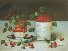 """Summer Berries"" Original Hand Painted 12""x16"" Oil Painting Food Canvas Art"
