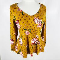Daytrip Womens Small Mustard Yellow Long Sleeve Soft Floral Top