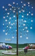 Solar Powered 200 White LED Weeping Willow Branch Tree Garden Decoration