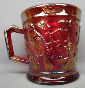 B459 Modern Imperial ROBIN Ruby Carnival Glass Mug