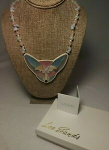 """*Lee Sands* Shell Inlaid Fox Face 3 5/8"""" wide - Gemstone & Glass Necklace"""