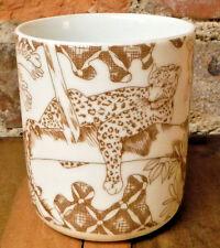 Vintage Porcelain Mug Wild Habitat Leopard Shafford Coffee Cup Animals Brown