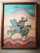 Peinture et collage de Saozi datée 93 art abstrait abstraction surréalisme
