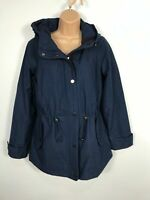 WOMENS GIACCA NAVY BLUE ZIP UP LIGHTWEIGHT MAC COAT JACKET WITH HOOD SIZE SMALL