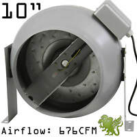 "Hydroponics 10"" Flange InLine Exhaust Duct Fan for Indoor Grow System by iHidro"