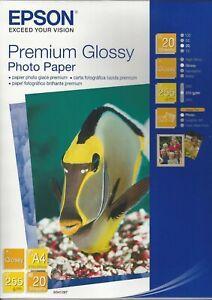 Epson Premium Glossy Photo Paper 210x297mm (8.25x11inches)  255 g/m² 20 Sheets