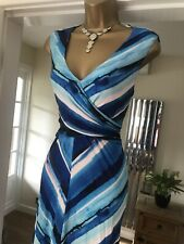 Phase Eight stretchy striped jersey summer holiday party dress size 18