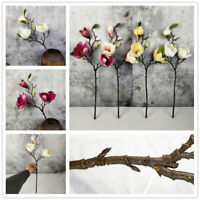 Magnolia Floral Wedding Bouquet Fake Silk Flower Artificial Leaf Blossom Decor