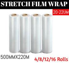20U CLEAR Hand Stretch Film 500mmx220m Pallet Wrap Shrink Wrapping 4/8/12 Roll
