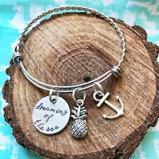 Dreaming Of The Sea Anchor Charm Bangle Bracelet Handstamped Pineapple