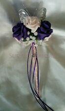 Purple Pink Rose Gypsophila Butterfly Wand Flower Girl Bridesmaid Wedding