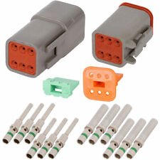 Deutsch DT 6 Pin Gray Connector Kit w/ 14 AWG Solid Contacts