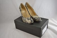 HOBBS black and ivory snakeskin leather court shoes stack block heel size 39