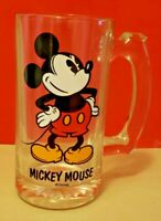 Vintage Disney Mickey Mouse Glass Mug w/Handle & Thumb Rest - Mint Condition