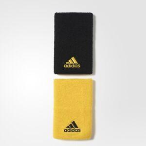 NEW Adidas  Wristbands Tennis DOUBLEWIDE Adidas Black/Yellow CE3155