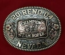 2004 RODEO VINTAGE TROPHY BELT BUCKLE~RENO NEVADA TEAM ROPING CHAMPION 833