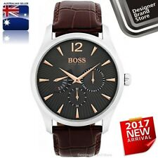 NEW HUGO BOSS MENS COMMANDER WATCH SILVER BLUE DIAL BLACK LEATHER CHRONO 1513490