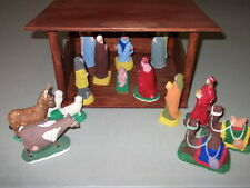 Vintage 60's 70's 16 Piece CHALKWARE NATIVITY Set  & WOOD MANGER Homemade in USA