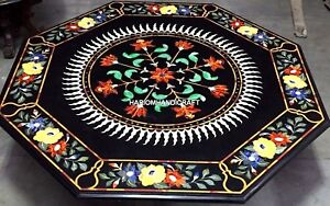 Traditional Marble Table Floral Top Mosaic Corner Inlay Rare Kitchen Decor H4337