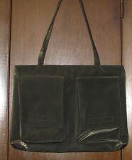 "Lancome Dark Green Microfiber Tote Double Handle Handbag 16""W X 11""H X 2""D NEW"