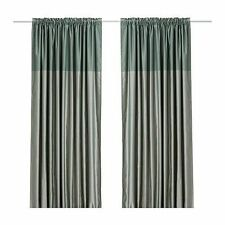 IKEA DAGNY PAIR OF GREEN CURTAINS - NEW -