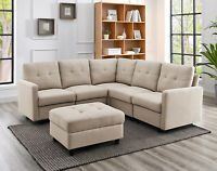 Contemporary Convertible Sectional Sofa Linen Fabric Couch With Back Cushion US