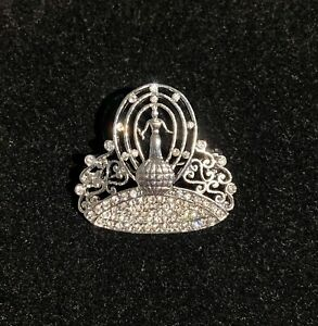 Miss Universe Classic Crown Brooch Pin With Rhinestones