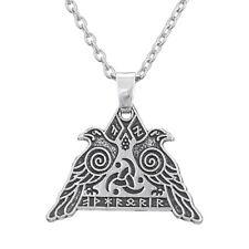 Ravens Huginn and Muninn Pendant Necklace Vintage Norse Viking Runes Odin's Horn
