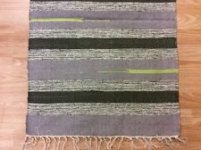 Striped Black Blue Hand loomed 100% Cotton Rag RUG Durrie Mat 60x90cm 2x3 50%OF
