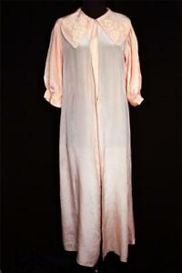 RARE VINTAGE 1930'S-1940'S RAYON PEACH SATIN LONG ROBE QUILTED COLLAR SZ 8-10