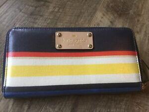 Kate Spade Wallet Striped NWOT Blue
