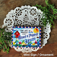 Nana Pappy 's House Grandparent Gift Tiny Wood Ornament Sign DecoWords USA New