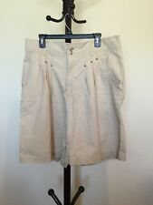 New Women's HONORS Beige Ramie/cotton High Waist Casual Shorts Plus Size 38/24W